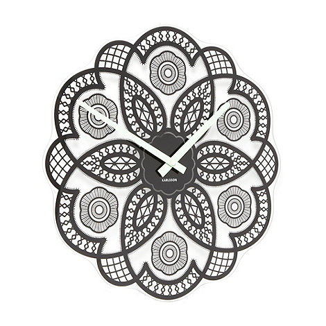 Present Time - Black lace glass flower wall clock
