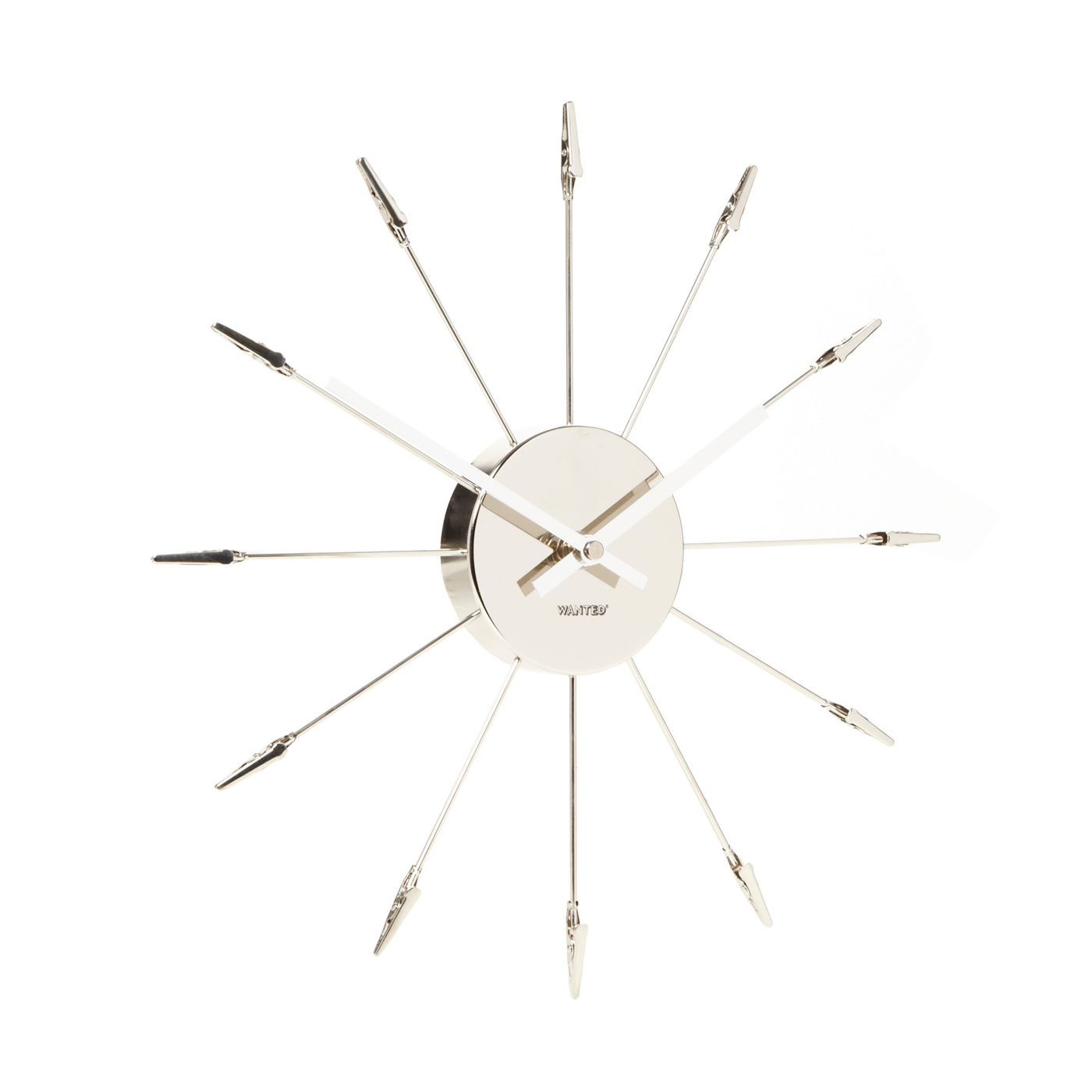 Present Time Silver metal clip memo wall clock