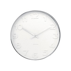 Karlsson - Mr. White numbers steel polished wall clock