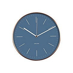Karlsson - Minimal jeans blue copper case wall clock