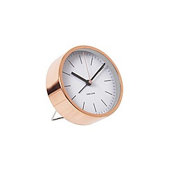 Karlsson - Minimal white steel copper plated case alarm clock