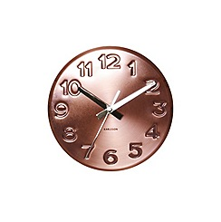 Karlsson - Bold engraved numbers steel copper wall clock