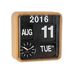 Karlsson - Mini flip bamboo printed casing wall clock
