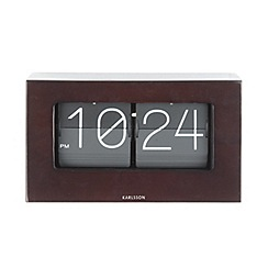 Karlsson - Boxed flip dark wood table clock