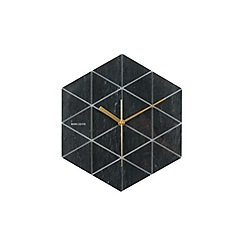 Karlsson - Marble Hexagon black BOX32 Design wall clock
