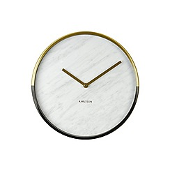 Karlsson - Marble Delight gold white wall clock