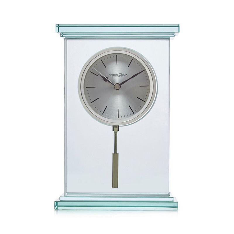 London Clock Silver glass mantel clock