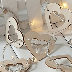 Noma - White warm wooden LED hearts
