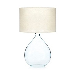 Debenhams - Blue glass lamp with linen shade