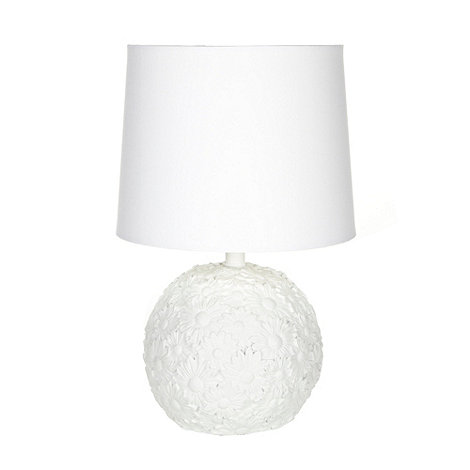 RJR.John Rocha - Designer white resin floral sphere table lamp