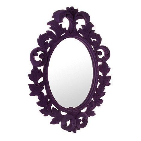 abigail-ahern-edition - Designer purple flocked oval mirror