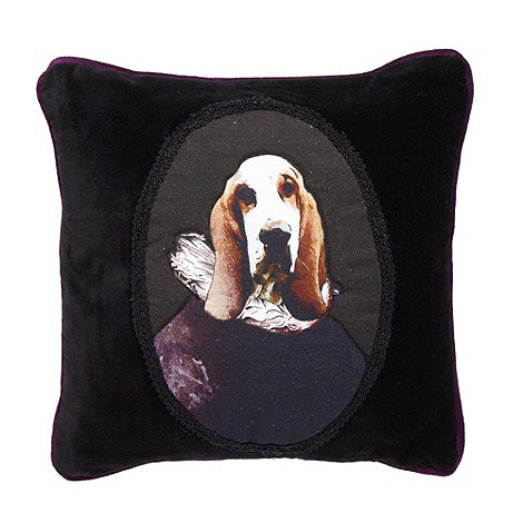 Abigail Ahern/EDITION - Designer black bloodhound print cushion