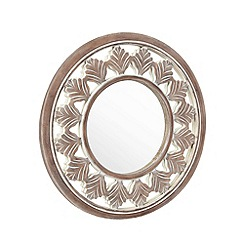 Debenhams - Brown round wooden mirror