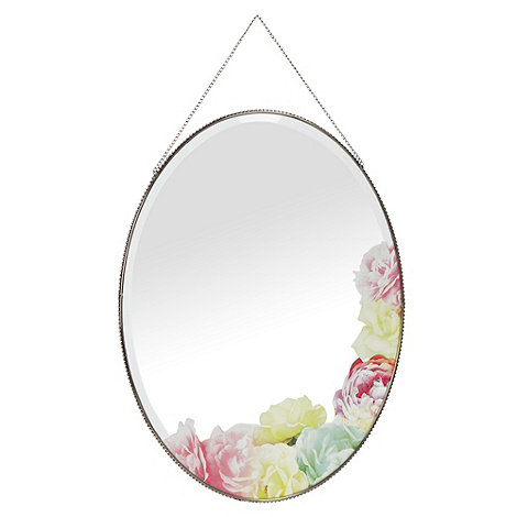 Butterfly Home by Matthew Williamson - Designer pink oval floral printed mirror
