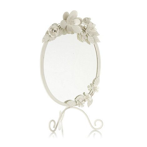 Debenhams - Metal cream corsage table mirror