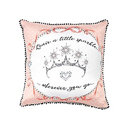 Janet Reger Home - Light pink 'Leave a little sparkle' cushion
