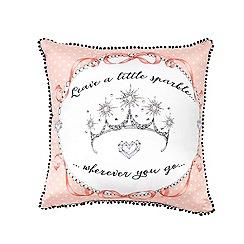 Janet Reger Home - Light pink 'Leave a little sparkle' cushion