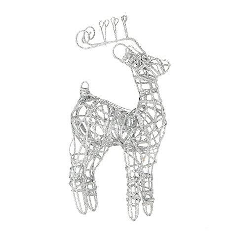 Debenhams - Silver glitter frame reindeer Christmas decoration