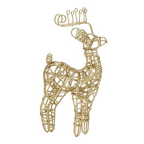 Debenhams - Gold glitter frame reindeer Christmas decoration