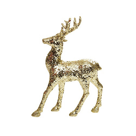 Debenhams - Gold glitter reindeer Christmas ornament