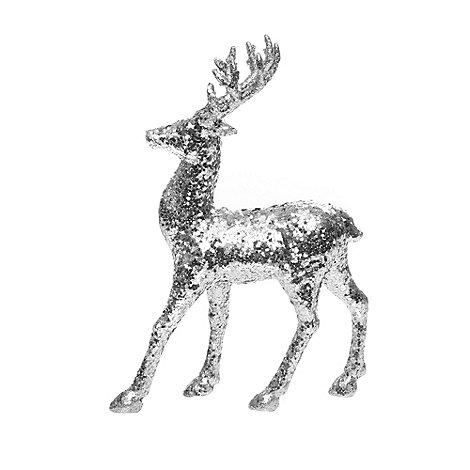 Debenhams - Silver glitter reindeer Christmas ornament