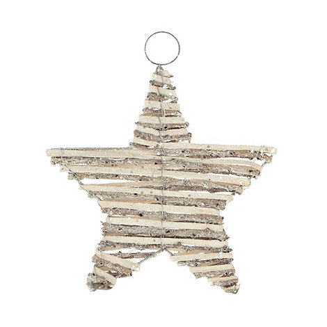 Debenhams - Silver wooden glitter star Christmas decoration