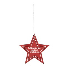 Debenhams - Red 'Magic of Christmas' hanging star decoration