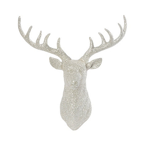 Debenhams Silver Glittery Wall Mounted Christmas Stag Head