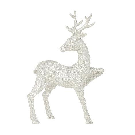 Debenhams - Silver glittery standing reindeer Christmas ornament
