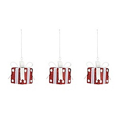 Debenhams - Set of three red present Christmas tree decorations