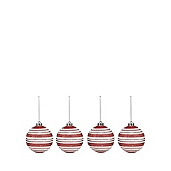 Debenhams - Set of four red stripe Christmas baubles