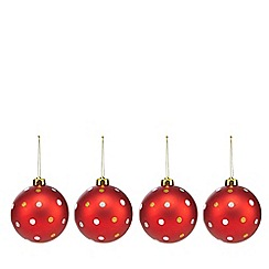 Debenhams - Pack of four red spotty Christmas baubles
