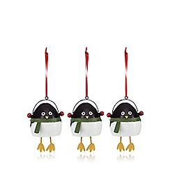 Debenhams - Set of three black penguin Christmas tree decorations