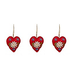 Debenhams - Set of three red heart Christmas tree decorations