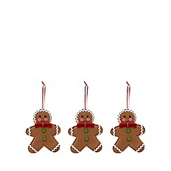 Debenhams - Set of three brown gingerbread men Christmas tree decoration