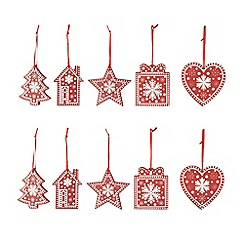 Debenhams - Set of ten wooden Christmas decorations