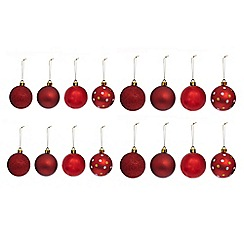 Debenhams - Set of 16 red assorted Christmas baubles