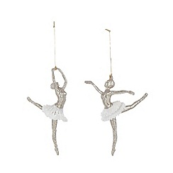 Debenhams - Set of two silver glitter ballerina Christmas decorations