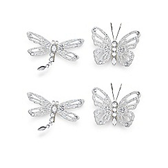 Debenhams - Set of four dragonfly and butterfly Christmas decorations