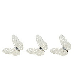 Debenhams - Set of three silver glitter butterfly Christmas decorations