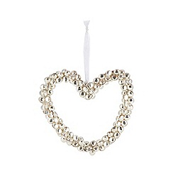 Debenhams - Silver bells heart shaped Christmas decoration