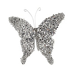 Debenhams - Silver sequinned butterfly Christmas decoration