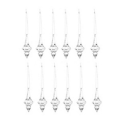 Debenhams - Set of 12 glass effect Christmas decorations
