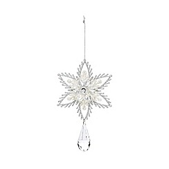 Debenhams - Silver glitter flower and jewel Christmas tree decoration