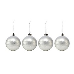 Debenhams - Set of four silver line Christmas baubles