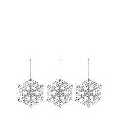 Debenhams - Set of three snowflake Christmas decorations