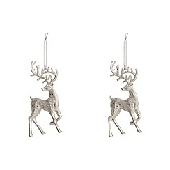 Debenhams - Set of two silver glitter reindeer Christmas decorations