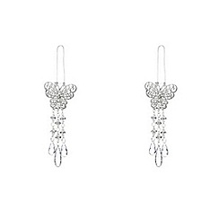Debenhams - Set of two silver butterfly Christmas tree decorations