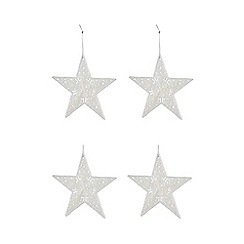 At home with Ashley Thomas - Set of four glitter star Christmas decorations