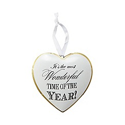 Debenhams - White heart shaped Christmas decoration